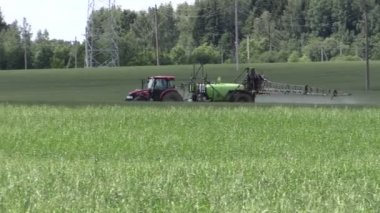 Tractor fertilize crop field at herbicides, pesticides. Panning — Stock Video