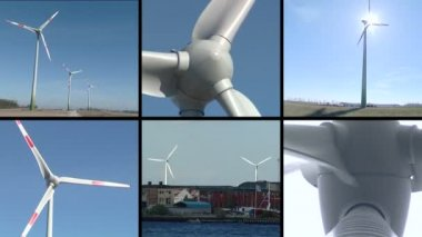Windmills rotate in wind. Renewable energy. Video clips collage. — Stock Video
