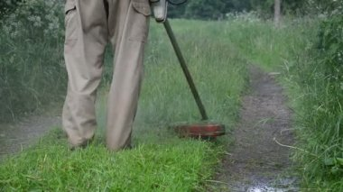 Closeup of water rain drops rise from trimmer cut wet grass — Stock Video
