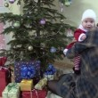 Mother with lovely baby girl on her hands have fun near fir tree — Wideo stockowe #75087311