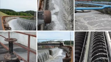 Sewage waste water cleaning plant. Waterworks. Video collage — Stock Video