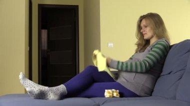 Dreamful future mother imagine her baby with newborn crawler — Stock Video