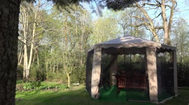 Garden arbor protective net from insect move in wind. 4K — Stockvideo