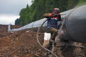 Construction of the pipeline — Stock Photo