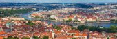 General view of Prague's historic center and the river Vltava — Stock Photo