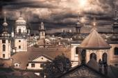 Panorama of red roofs of Prague — Stock Photo