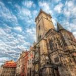Sunrise on Old Town Square Prague, Prague Astronomical Clock — Stock Photo #80637214