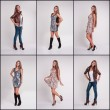 Set of girl  in various clothes — Stock Photo #62930391