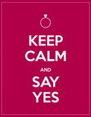 Keep calm and say yes — Stock Vector