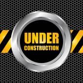 Under construction background with chrome metal grid design, vec — Stockvektor