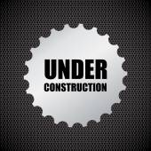 Under construction background with chrome metal grid design, vec — Stock Vector