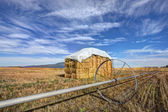 Haystack and irrigation pipe. — Stock Photo