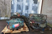 Pallets of industrial fishing gear. — Stock Photo
