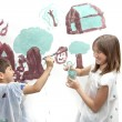 Siblings playing while painting — Stock Photo #72791311