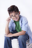 Portrait of boy with glasses. — Stock Photo