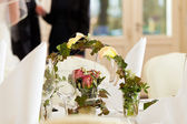 Table at a wedding feast — Stock Photo