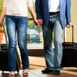Senior married couple arriving at Hotel — Stock Photo #68385007