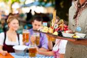 Beer and snacks - restaurant — Stock Photo