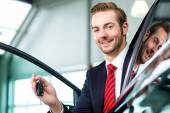 Young man or auto dealer — Foto de Stock