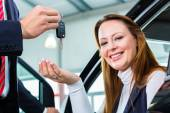 Female client and auto — Stock Photo