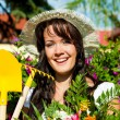 Gardening in summer - woman with flowers — Stock Photo #69306613