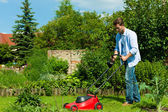 Man is mowing the lawn in summer — Stock Photo