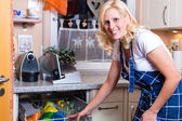 Housewife is doing the dishes with dishwasher — Stock Photo