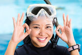 Young indonesian diver says ok — Stock Photo