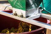 Grape harvesting machine or juicer at work — Stock Photo