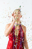 Woman celebrating birthday or party — Stock Photo