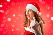 Santa Claus woman wanting you — Stock Photo