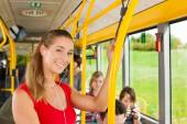 Female passenger in a bus — Stock Photo