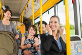 Passengers in a bus — Stock Photo