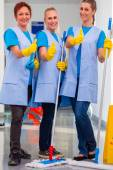 Cleaning ladies working in team — Stock Photo
