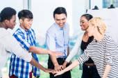 Tech entrepreneurs with team spirit and motivation — Stock Photo