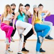 Dancer at Zumba fitness training in dance studio — Stock Photo #79378956