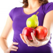 Healthy eating - woman with apples and pear — Stok fotoğraf #79385202
