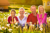 Happy family sitting in summer meadow — Stock Photo