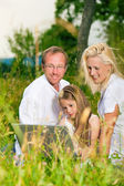 Happy family sitting in meadow with Laptop Computer — Stock Photo