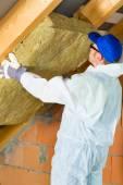 Material de isolamento térmico definição de trabalhador — Fotografia Stock