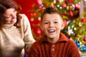 Christmas - Mother and son on Xmas Eve — Stock Photo