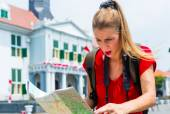 Tourist being lost in Jakarta, Indonesia — Stock Photo