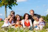 Family and multi-generation - fun on meadow in summer — Stock Photo