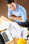 Architect working at home — Stock Photo