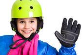 Girl in sports overalls — Stockfoto