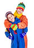 Due bambini in abiti invernali — Foto Stock