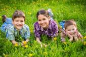 Three kids on green grass meadow — Stock Photo
