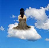 Girl on cloud — Foto de Stock