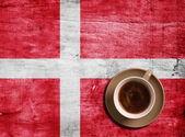Café y bandera — Foto de Stock