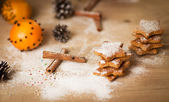 Christmas homemade gingerbread cookies,spice and decoration — Stock Photo